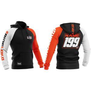 Front & back of orange customised premium motorsports hoodie