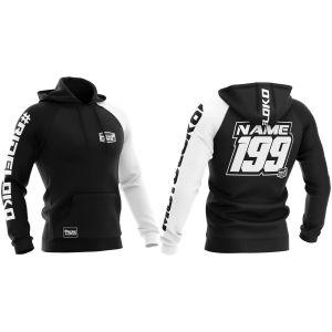 Front & back of white customised premium motorsports hoodie