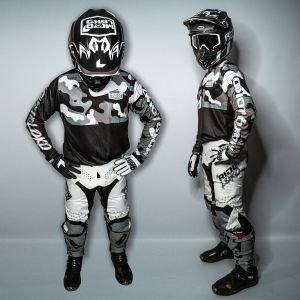 Front and side view of model wearing a complete white camo motocross kit