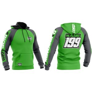 Front & back of green brushed motorsports customisable hoodie