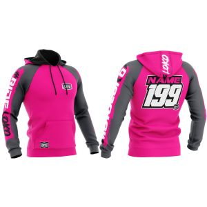 Front & back of pink brushed motorsports customisable hoodie