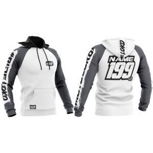 Front & back of white brushed motorsports customisable hoodie