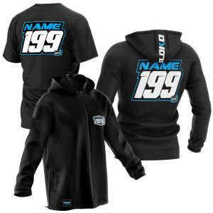 sublimated black motorsports pit pack showing t-shirt, hoodie and softshell jacket with blue customisation