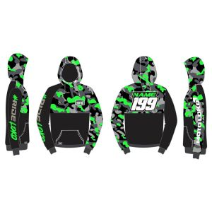 Green Camo customised motorsports hoodie showing front and back