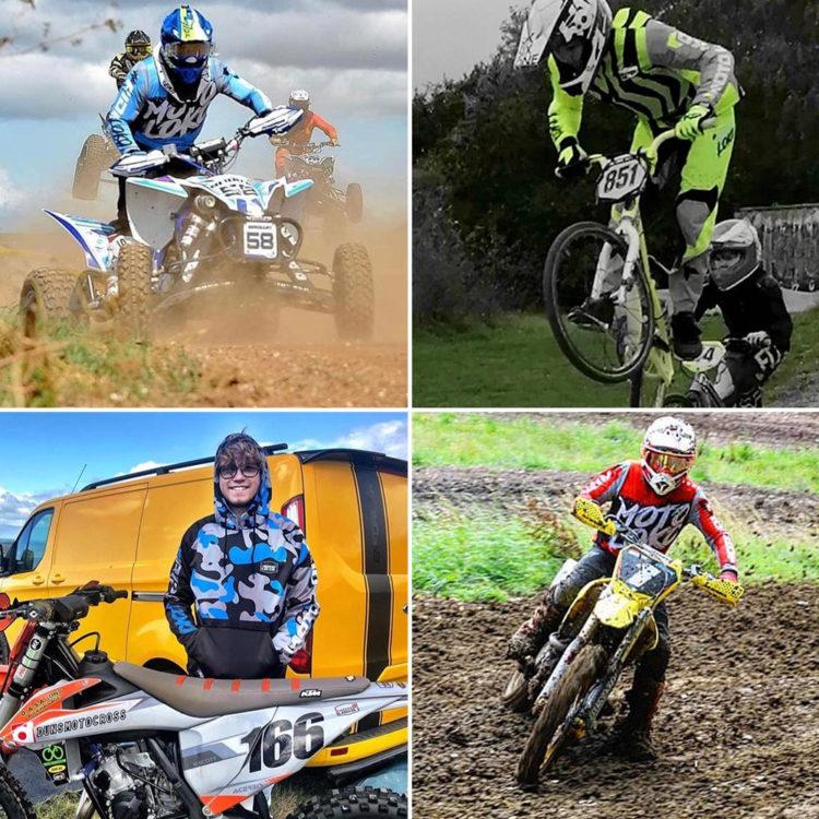 Collage showing 4 motorsports riders wearing MotoLoko hoodies and jerseys