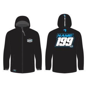 Blue Softshell Jacket mockup showing front and rear, with customised Name & Number