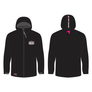 Pink Softshell Jacket mockup showing front and rear, without customisation.