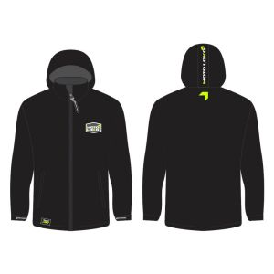 Yellow Softshell Jacket mockup showing front and rear, without customisation.