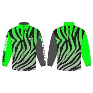 Green rain jacket mockup showing front and rear