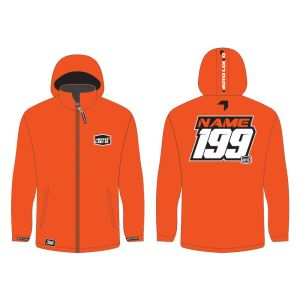 Orange softshell jacket mockup showing front and rear, with customised Name and Number