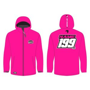 Pink softshell jacket mockup showing front and rear, with customised Name and Number