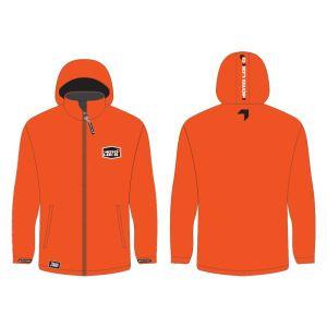 Orange softshell jacket mockup showing front and rear