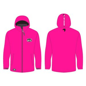 Pink softshell jacket mockup showing front and rear