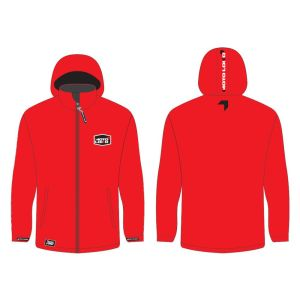 Red softshell jacket mockup showing front and rear