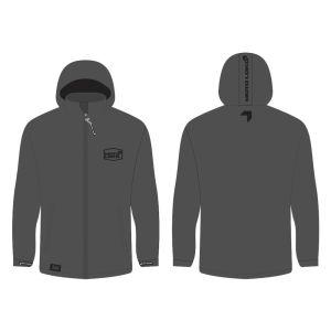 Grey softshell jacket mockup showing front and rear