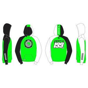 Green Born to Race customised motorsports hoodie showing front and back