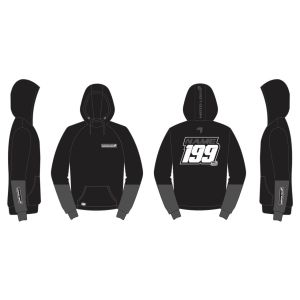 Black Fresh customised motorsports hoodie showing front and back