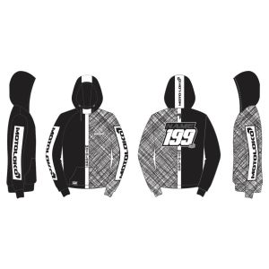 Black Scribble customised motorsports hoodie showing front and back