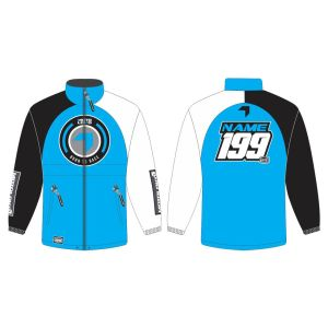 Blue Born to Race customised motorsports rain anorak showing front and back