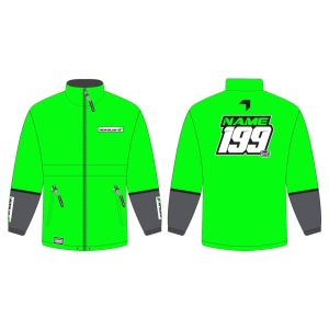 Green Fresh customised motorsports rain anorak showing front and back