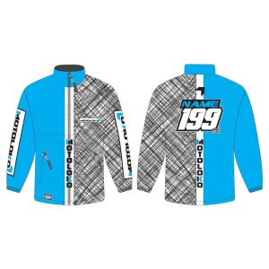 Blue Scribble customised motorsports rain anorak showing front and back
