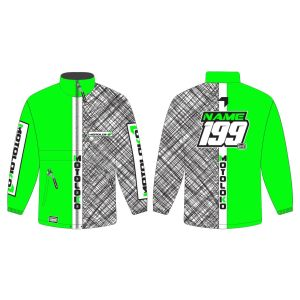 Green Scribble customised motorsports rain anorak showing front and back