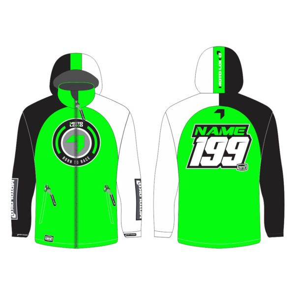 Green Born to Race customised motorsports softshell jacket showing front and back