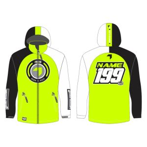 Yellow Born to Race customised motorsports softshell jacket showing front and back