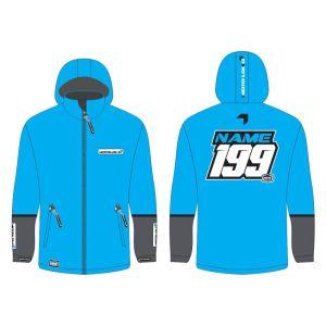 Blue Fresh customised motorsports softshell jacket showing front and back