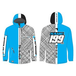 Blue Scribble customised motorsports softshell jacket showing front and back