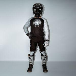 front view of model wearing black born 2 race motorsports kit