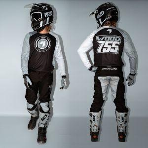 front & back view of model wearing black born 2 race motorsports kit