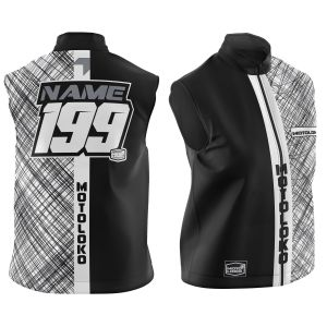 Black Scribble customised motorsports softshell bodywarmer showing front and back