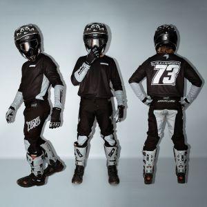 front, side & back of model wearing black fresh motorsports kit