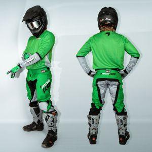 model wearing green fresh motorsports kit showing the back & side view