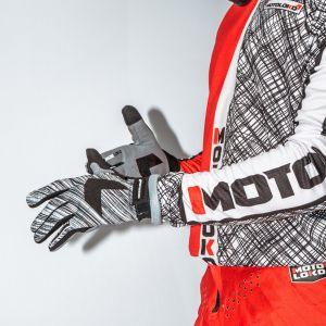 Orange scribble motocross gloves