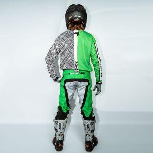 Model wearing green scribble motorsports kit showing back view of kit