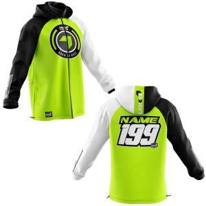 Front & back of yellow born 2 race motorsports customisable softshell jacket