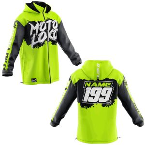 Front & back of yellow brushed motorsports softshell jacket