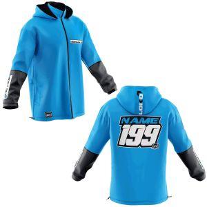 Front & back of blue fresh motorsports softshell jacket