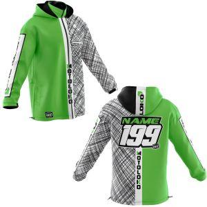 Front & back of green scribble motorsports customisable softshell jacket