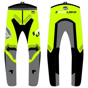 front & back view of yellow engage motorsports pants