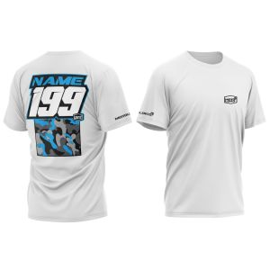 Blue Camo customised motorsports t-shirt showing front and back