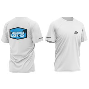 front & back of white hex motorsports t-shirt with blue print