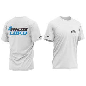 front & back of white RideLoko motorsports t-shirt with blue print