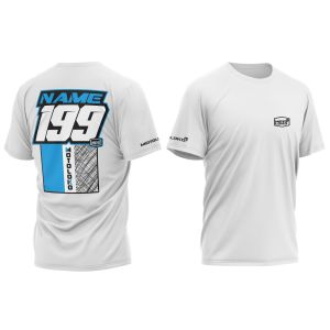 Blue Scribble customised motorsports t-shirt showing front and back