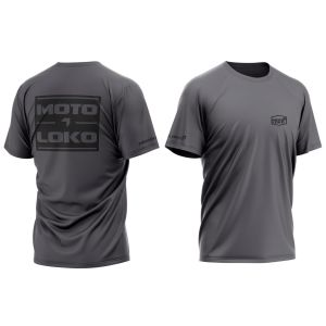 front & back of dark grey split motorsports t-shirt