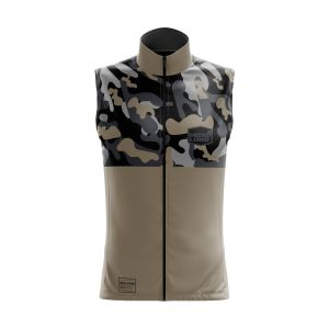 Front of sand camo motorsports customisable softshell bodywarmer