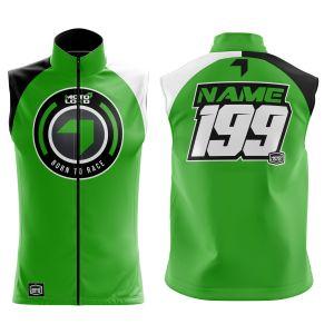 Front & back of green born 2 race motorsports softshell bodywarmer