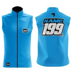 Front & back of blue customised motorsports softshell bodywarmer
